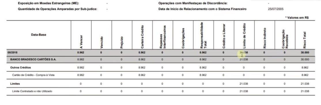 consulta SCR Banco central