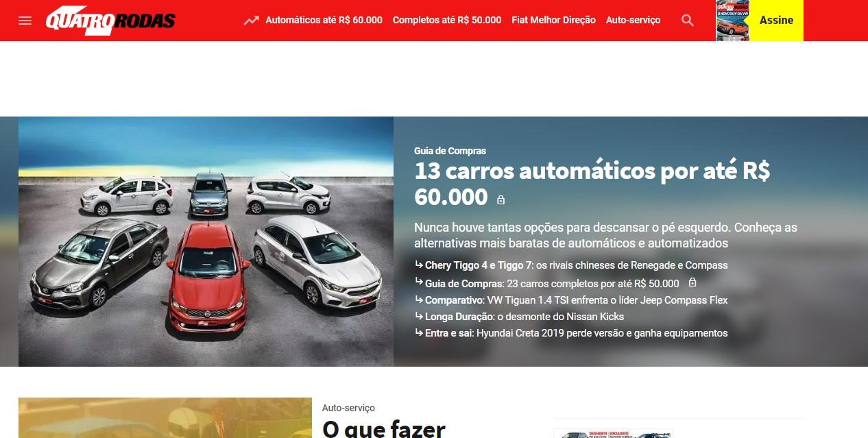 5b2beef9a Não dá para falar de sites especializados em carros sem falar da Quatro  Rodas. O site é um dos maiores do país e o seu crescimento tem sido  constante nos ...